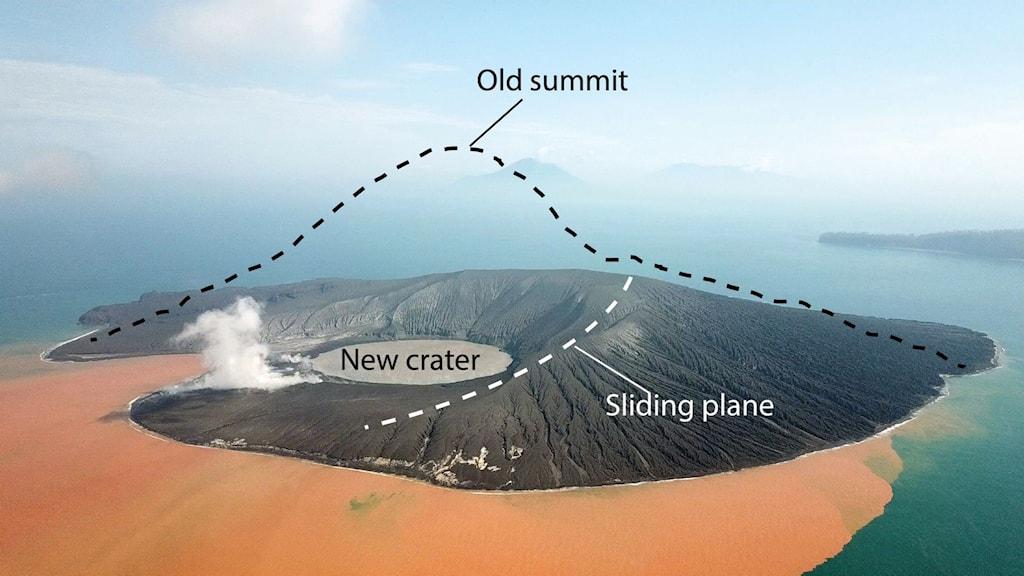 Vulkanön Anak Krakatau i Indonesien.