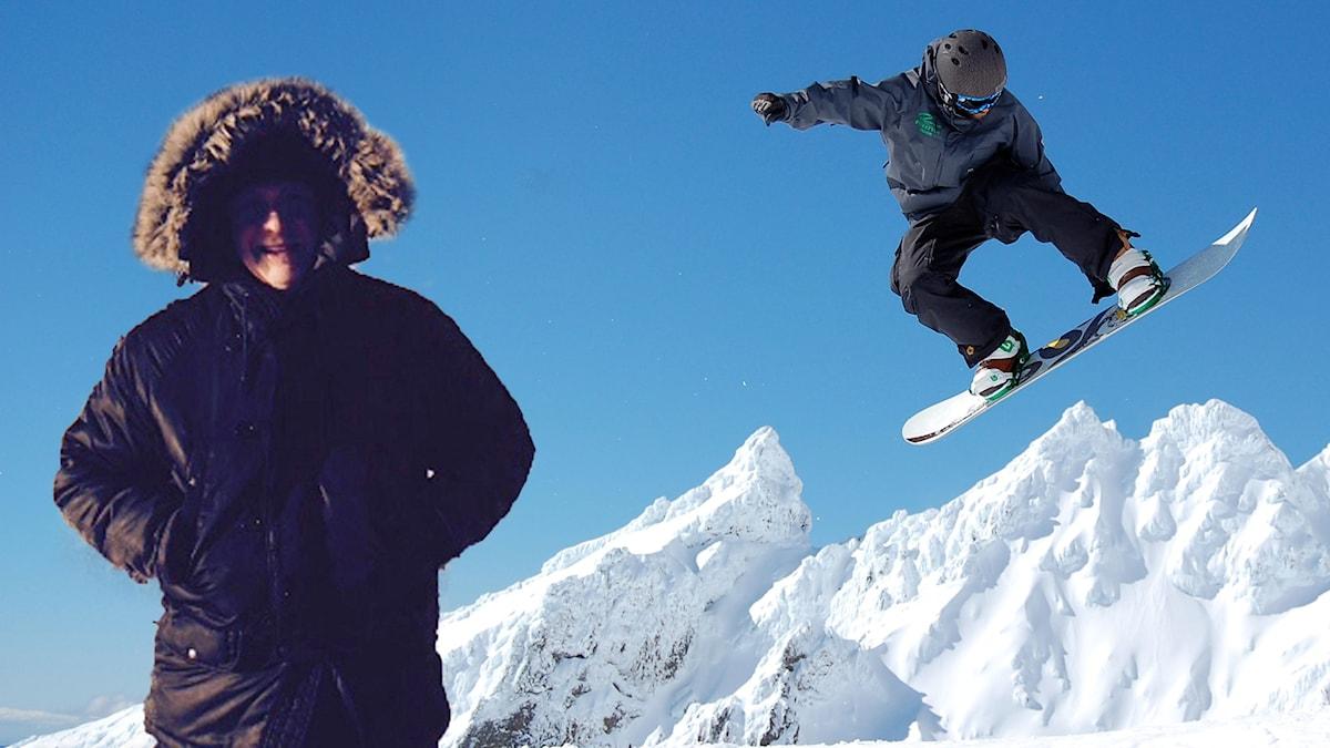 Pelle i snowboardbacken