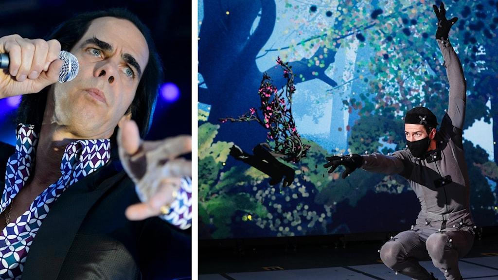 kollage med två bilder: Till vänster bild av Nick Cave på scen med mikrofon i hand. Till höger bild från repitition av föreställningen Dream där en skådespelare övar iklädd dräkt med rörelsesensorer.