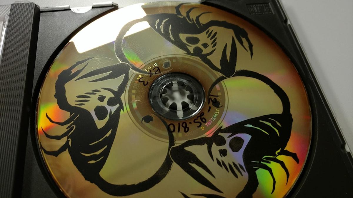 En CD-rottnad skiva från Sveriges Radios grammofonarkiv.