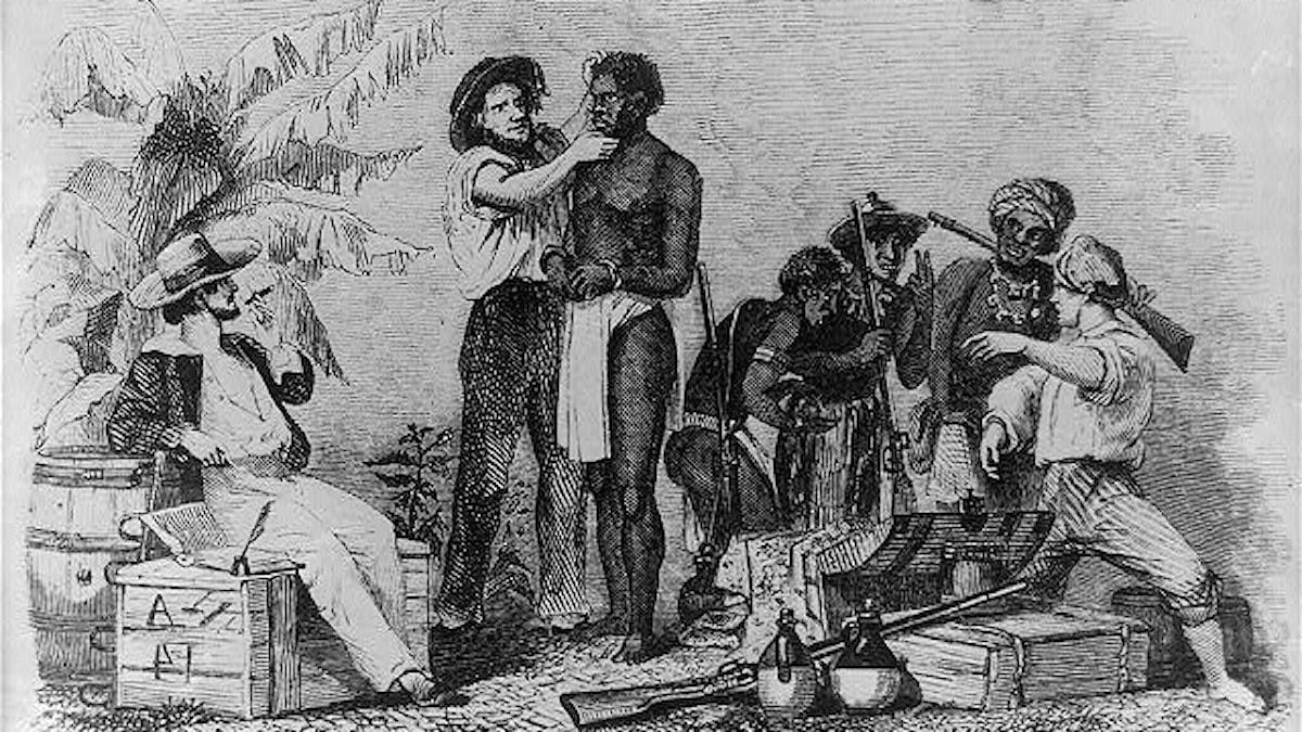 Slavmarknad på 1800-talet enligt Theodore Canot.