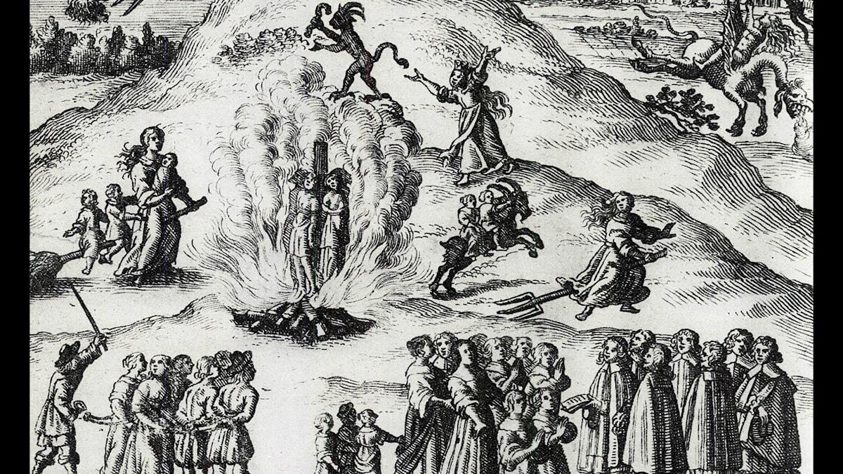 Häxprocessen i Mora enligt ett tyskt kopparstick från 1670.