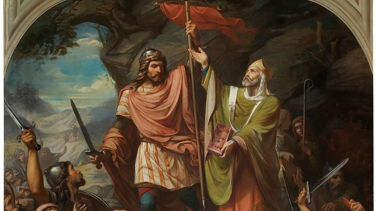 Pelagius i spetsen för sina visigotiska soldater vid Covadonga.