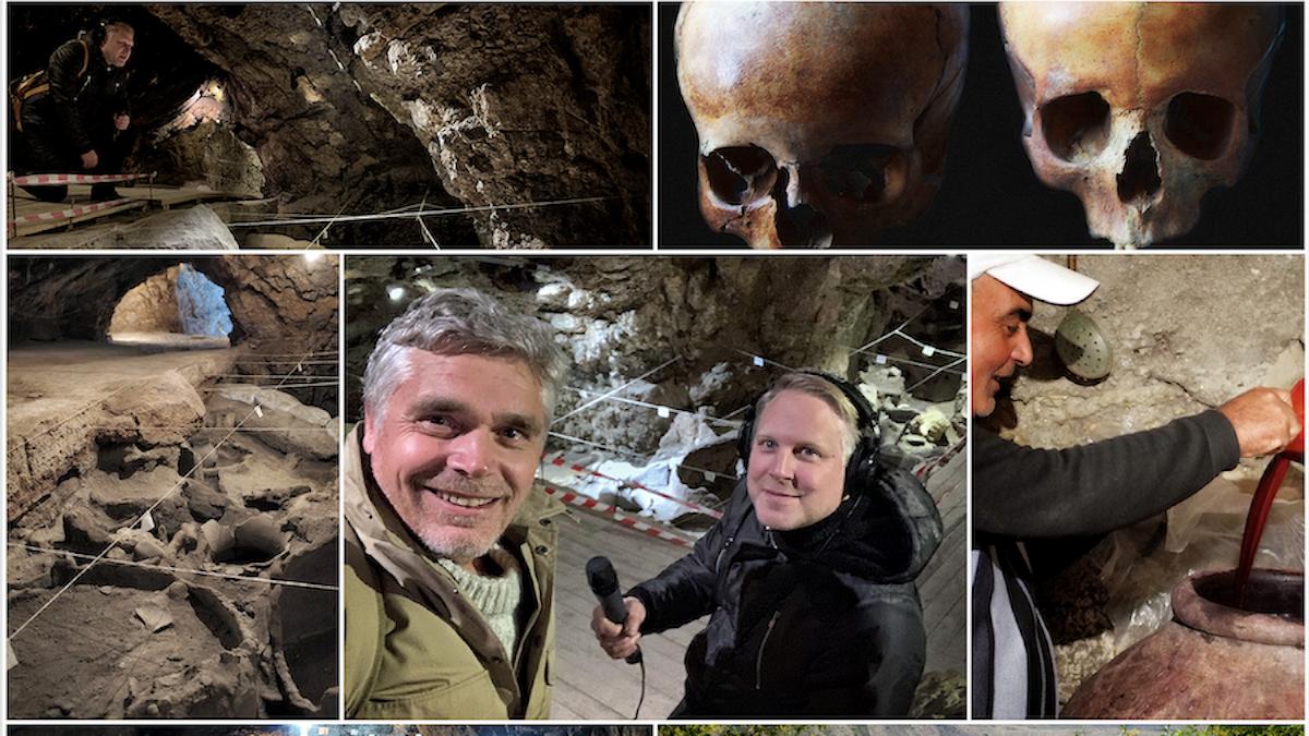 Expedition Noa med Tobias Svanelid och Richard Holmgren reser till Arenigrottan flr att utforska världens äldsta vintillverkning.