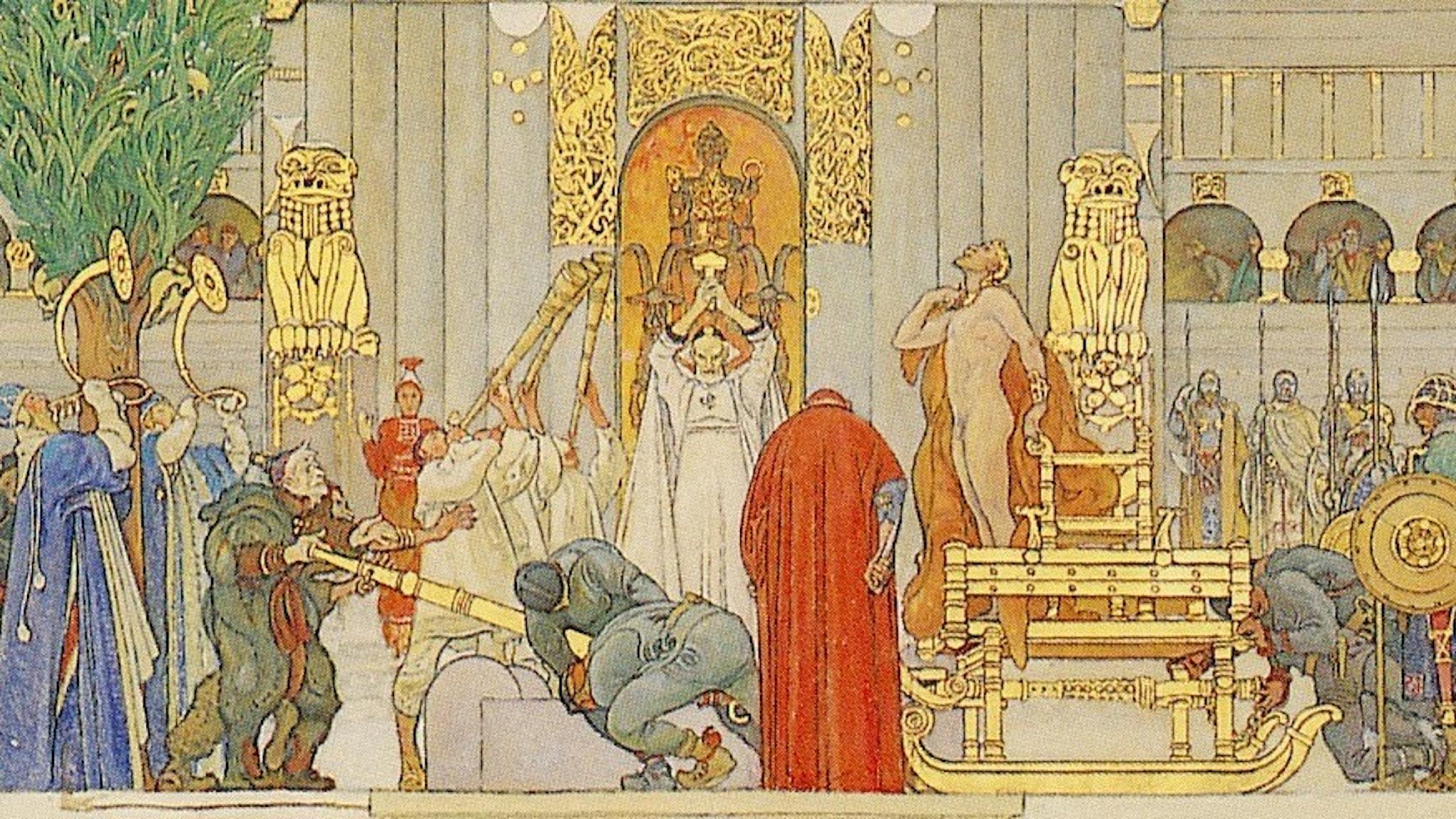 Kung Domalde offras för att råda bot på missväxten. Allt enligt Carl Larssons Midvinterblot - här i beskuren skiss.