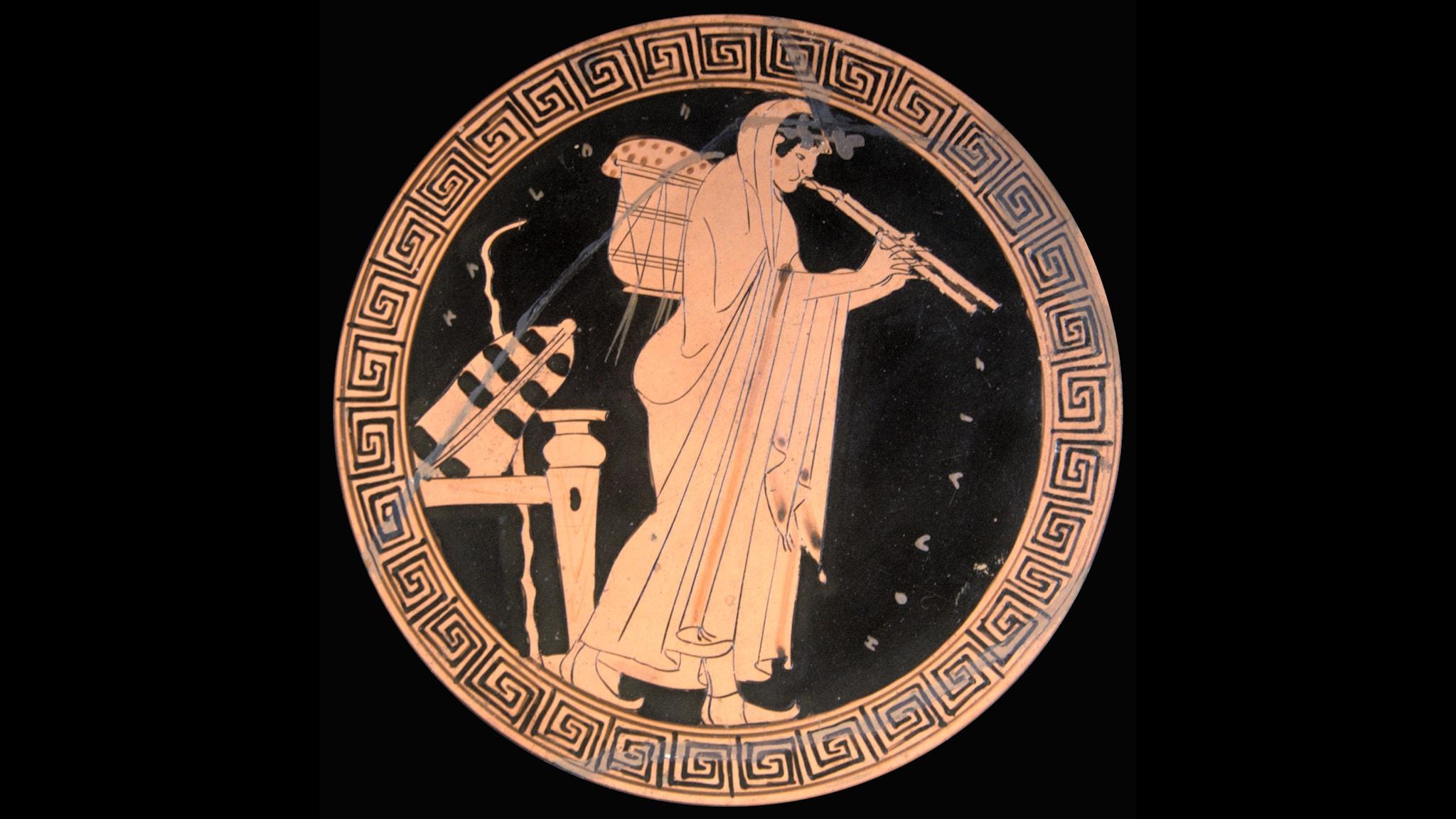 Grekisk aulosspelare från 400-talet f Kr. Foto Bibi Saint-Pol