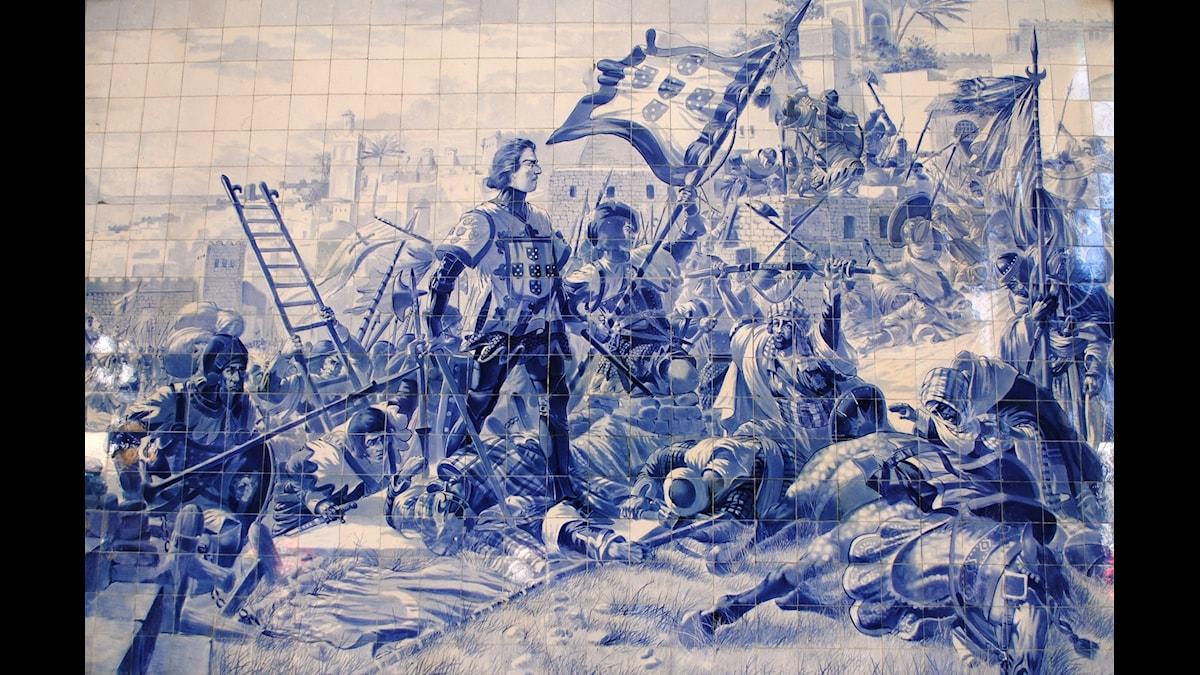 Henrik Sjöfararens erövring av Ceuta 1415, enligt konstnären Jorge Colaco. Foto: Wikimedia