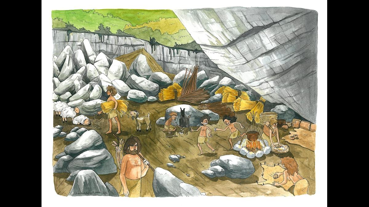Livet vid Portalongrottan i Baskien för 5 000 år sedan, enligt konstnären Maria de la Fuente.