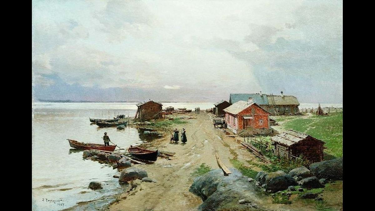 De gamla estlandssvenska bygderna vid Hapsal skildrade av ryske konstnären Alexander Karlovich Beggrov på 1890-talet.
