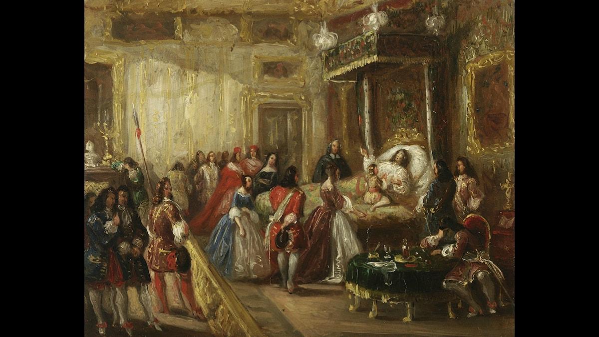 Ludvig XIV:s död på slottet Versailles, skildrad av Thomas Jones Henry Barker. Foto: Musée Antoine-Lécuyern