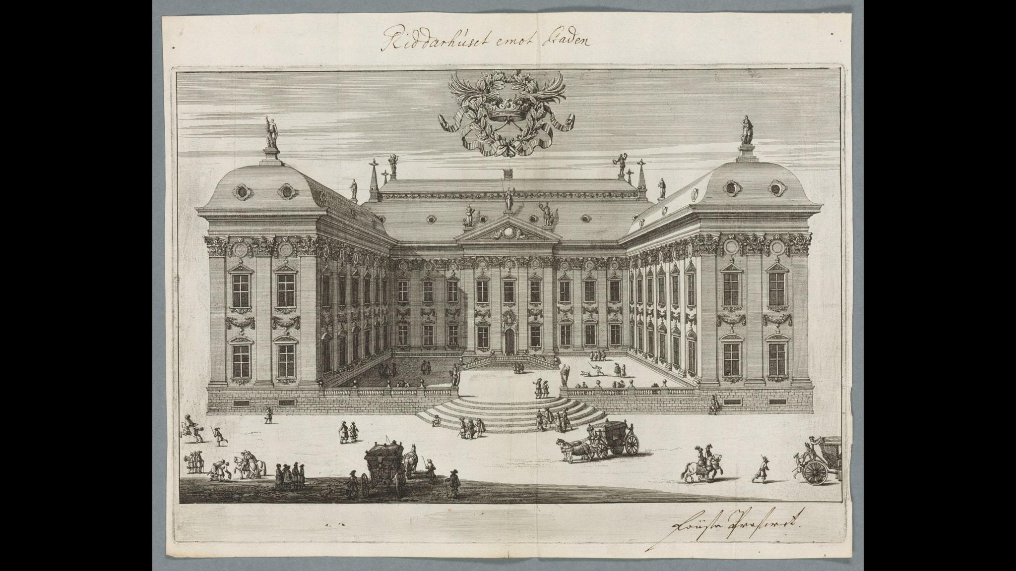 Riddarhuset enligt Erik Dahlbergh Foto: Kungliga biblioteket