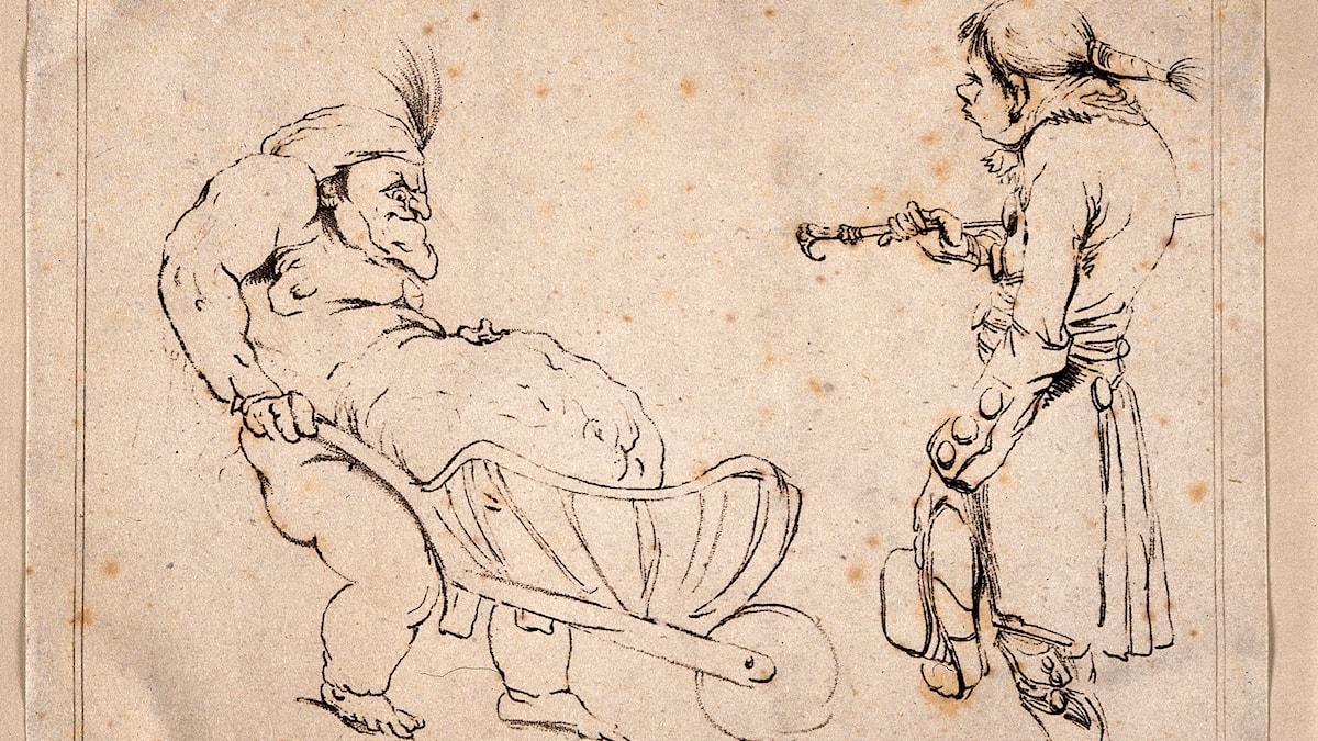 1700-talshumor med överviktstema.