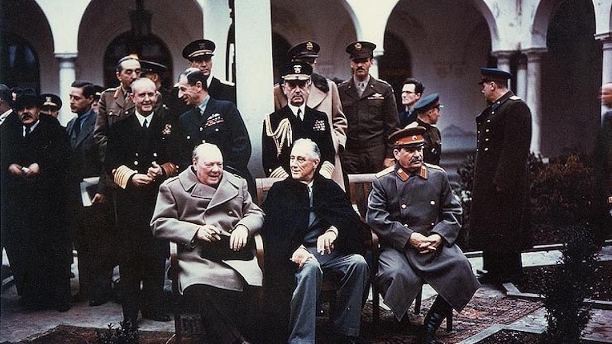 Churchill, Roosevelt och Stalin bestämde världens öde i Jalta 1945.