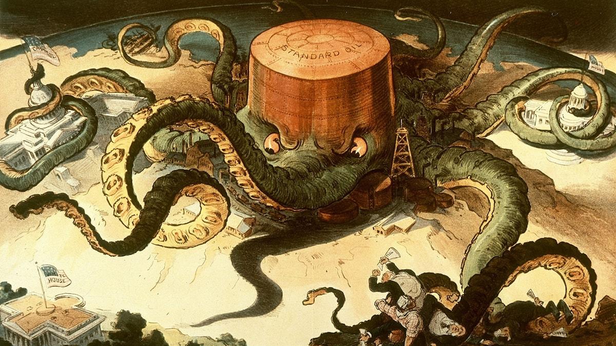Standard Oil som en bläckfisk enligt det tidiga 1900-talets serietecknare.