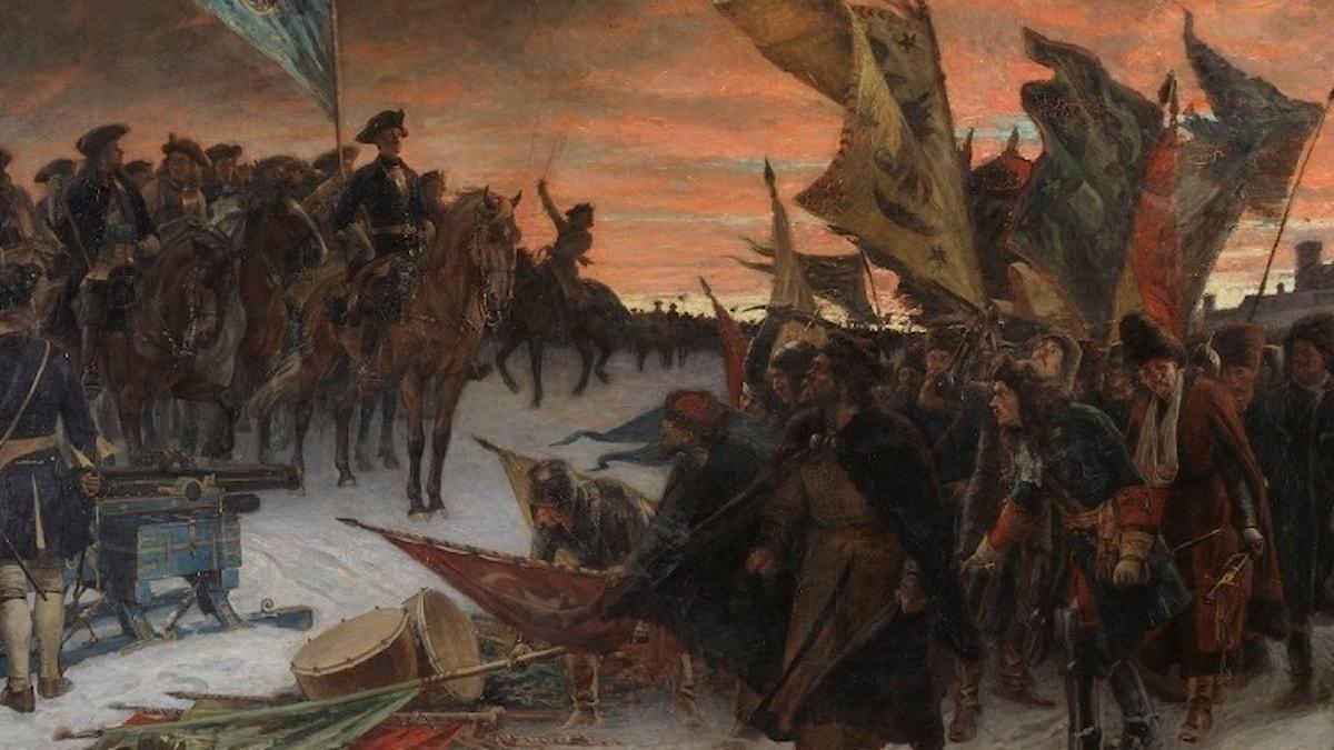 Gustafs Cederströms bild av Narva, med de erövrade fanorna som fladdrar i vinden.
