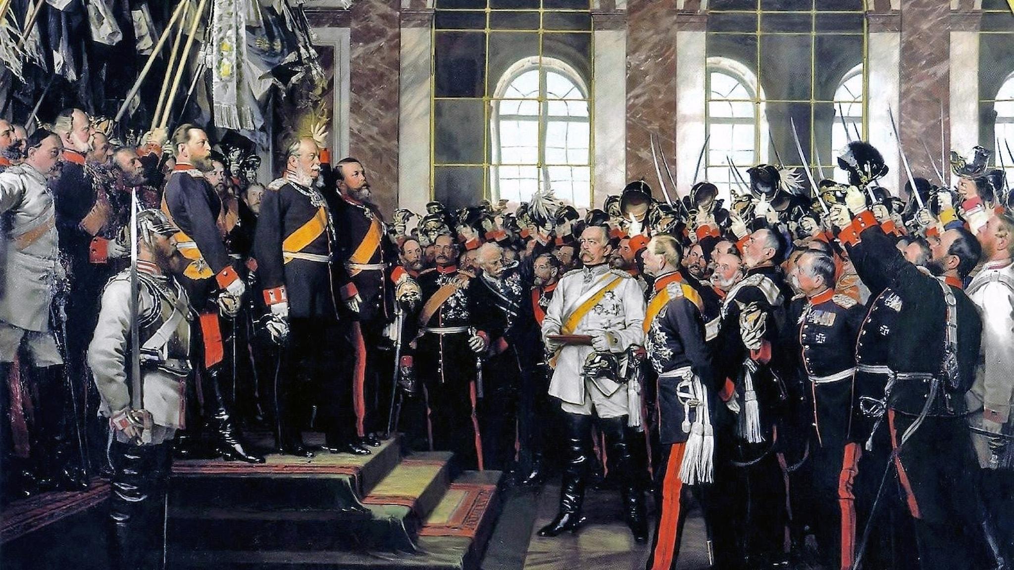 Det tyska kesjardömet proklameras i Spegelsalen i Versailles i januari 1871.