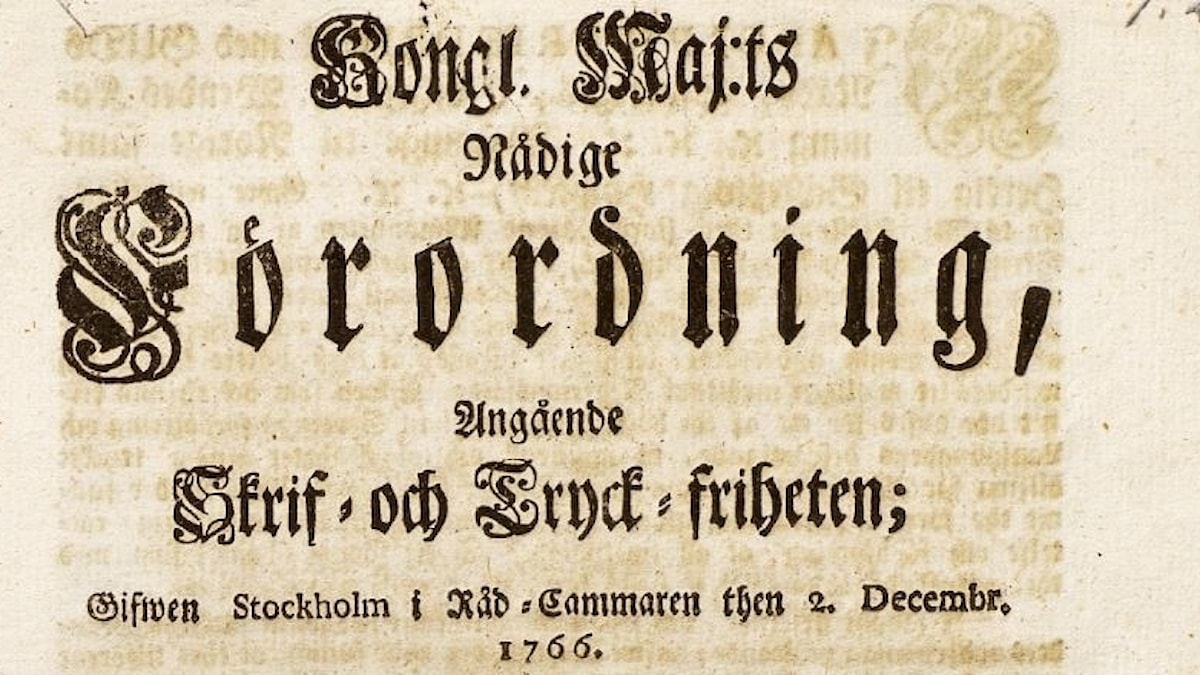 Tryckfrihetsförordningen 1766.