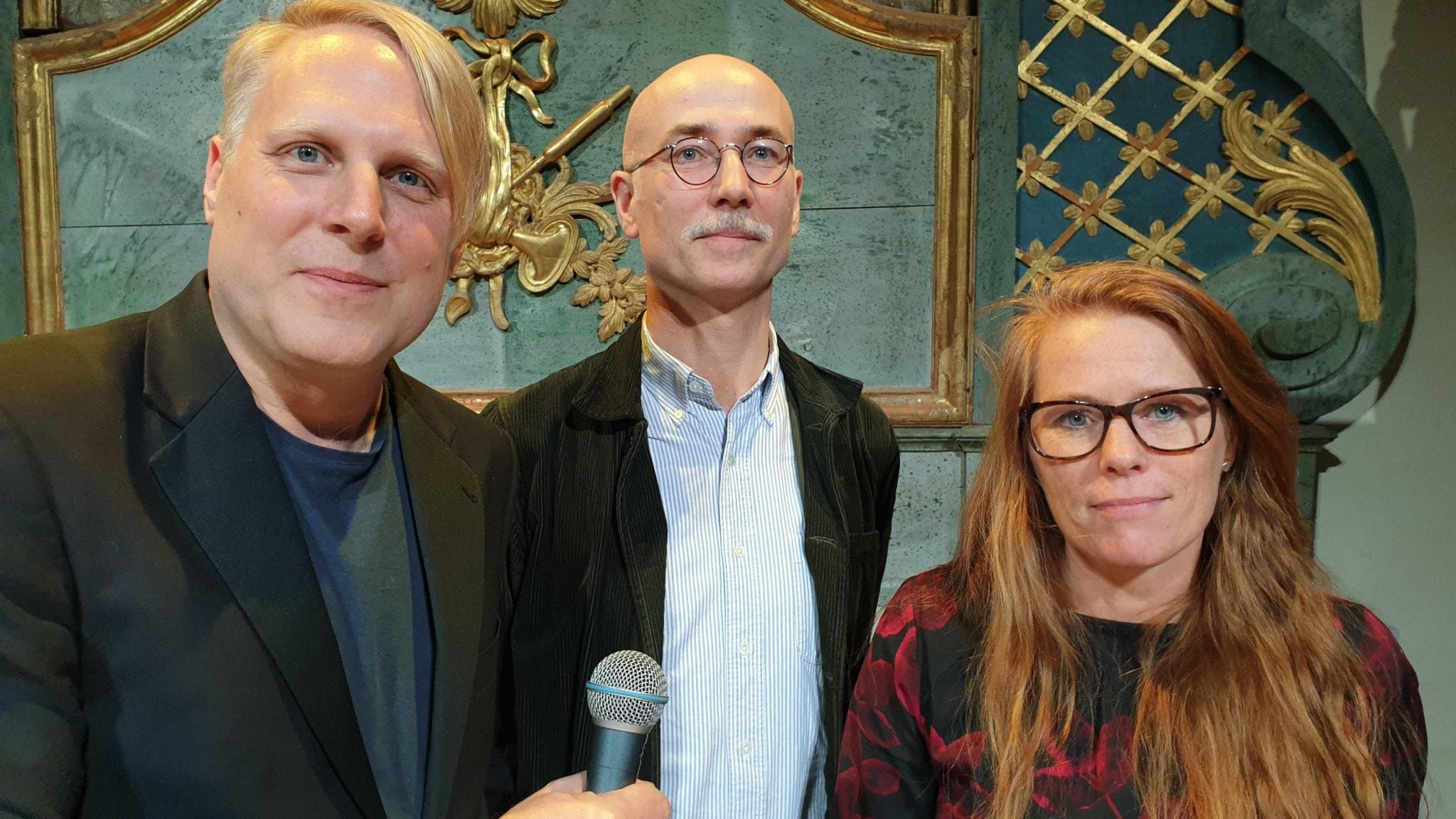 Tobias Svanelid Jonas M Nordin och Annika Sandén i Vetenskapsradion Historias första livepodd.