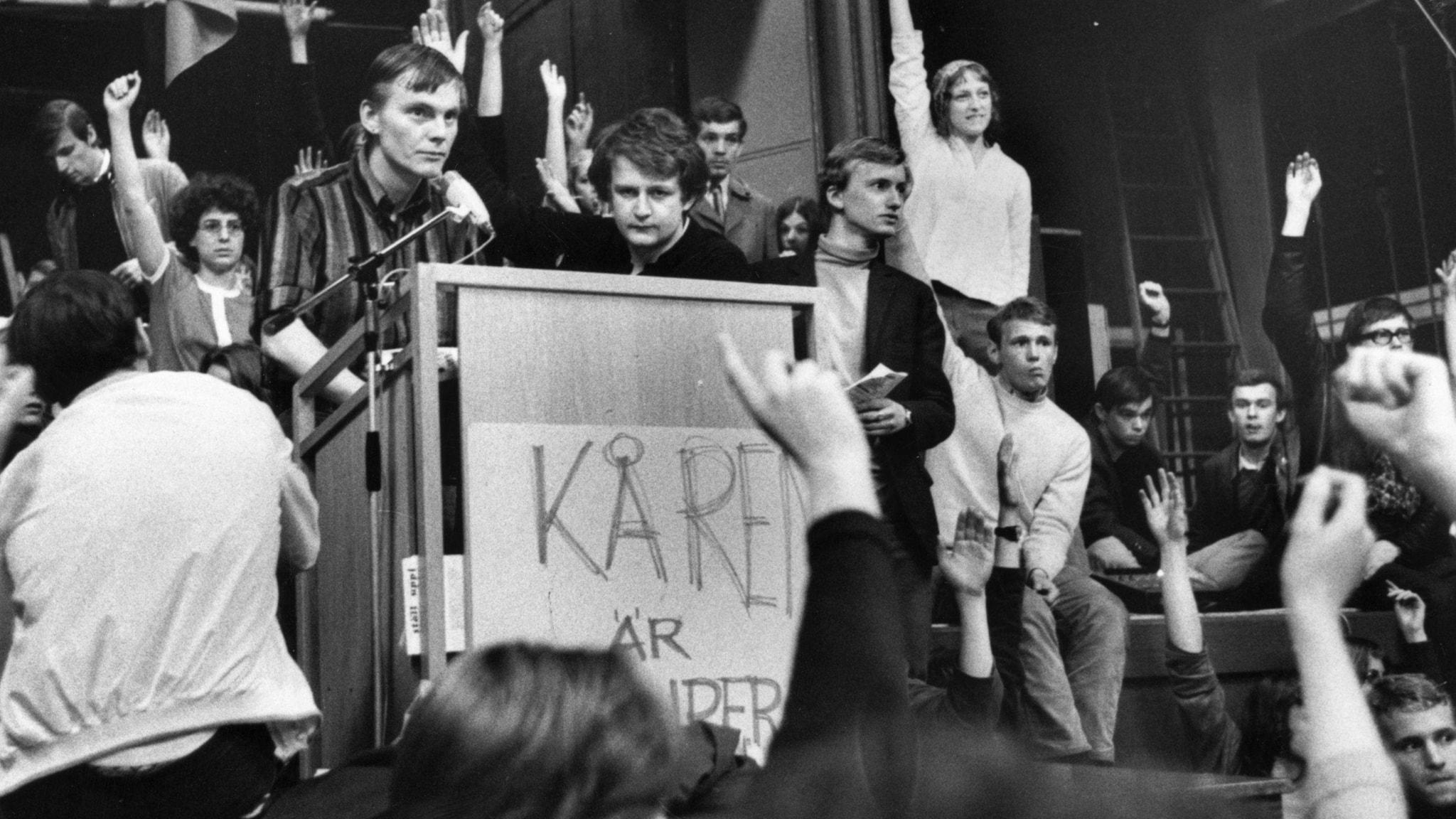 Kårhuset i Stockholm ockuperas i maj 1968.