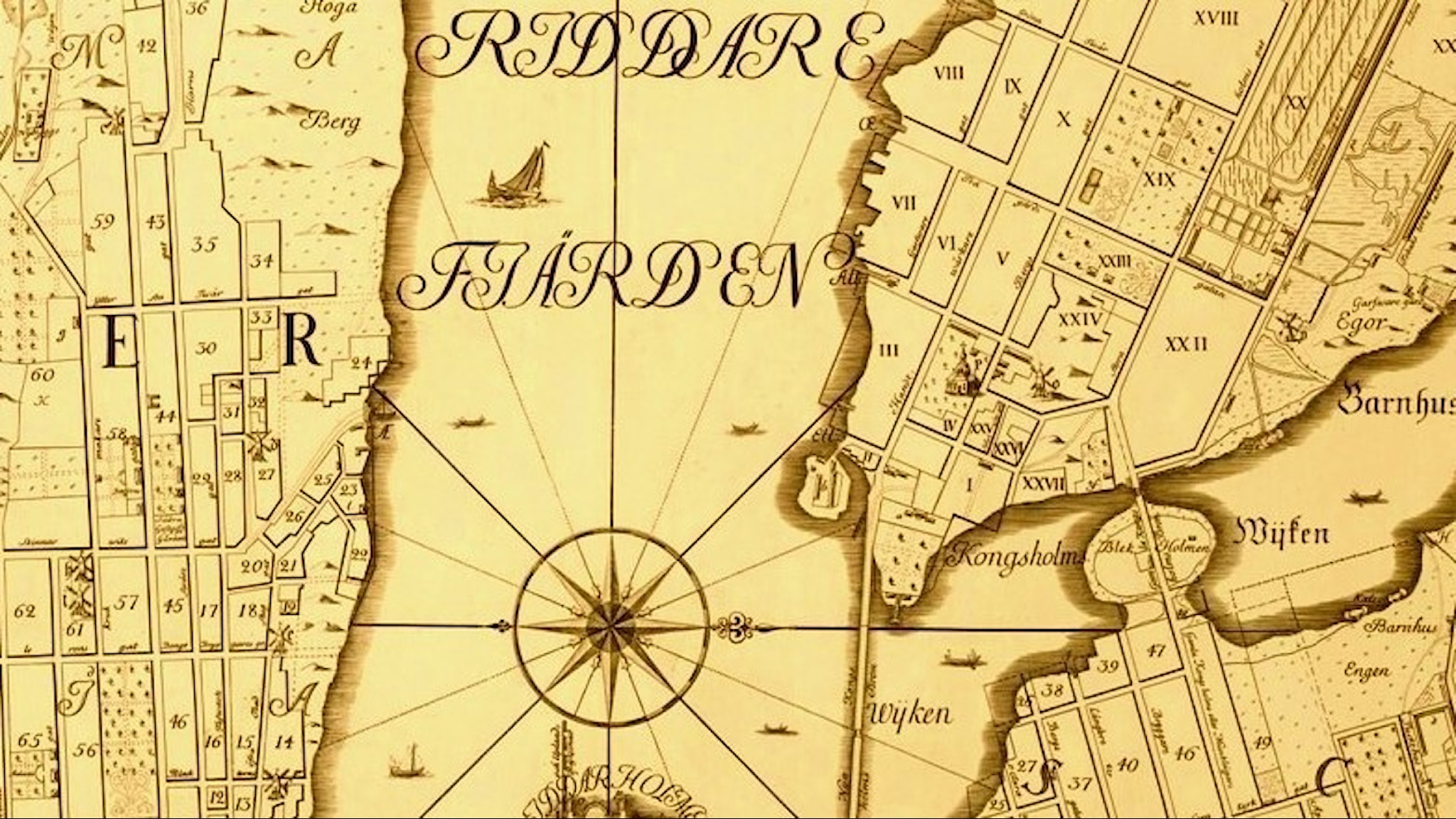 Det utgrävda kvarteret syns längst ner till vänster på kartan. Karta från 1733 av Petrus Tillaeus.