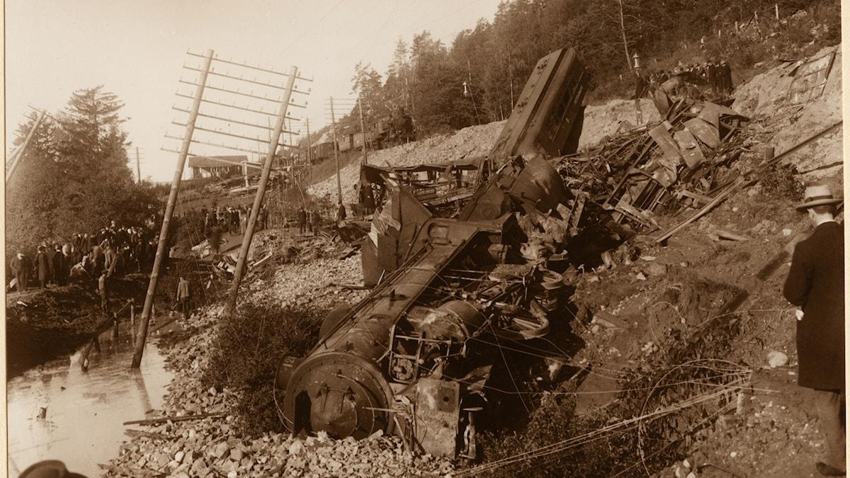 Tågolycksplatsen i Getå 1918.