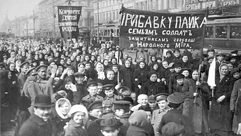 Demonstrationen den 8 mars 1917 som satte igång revolutionen i Ryssland.