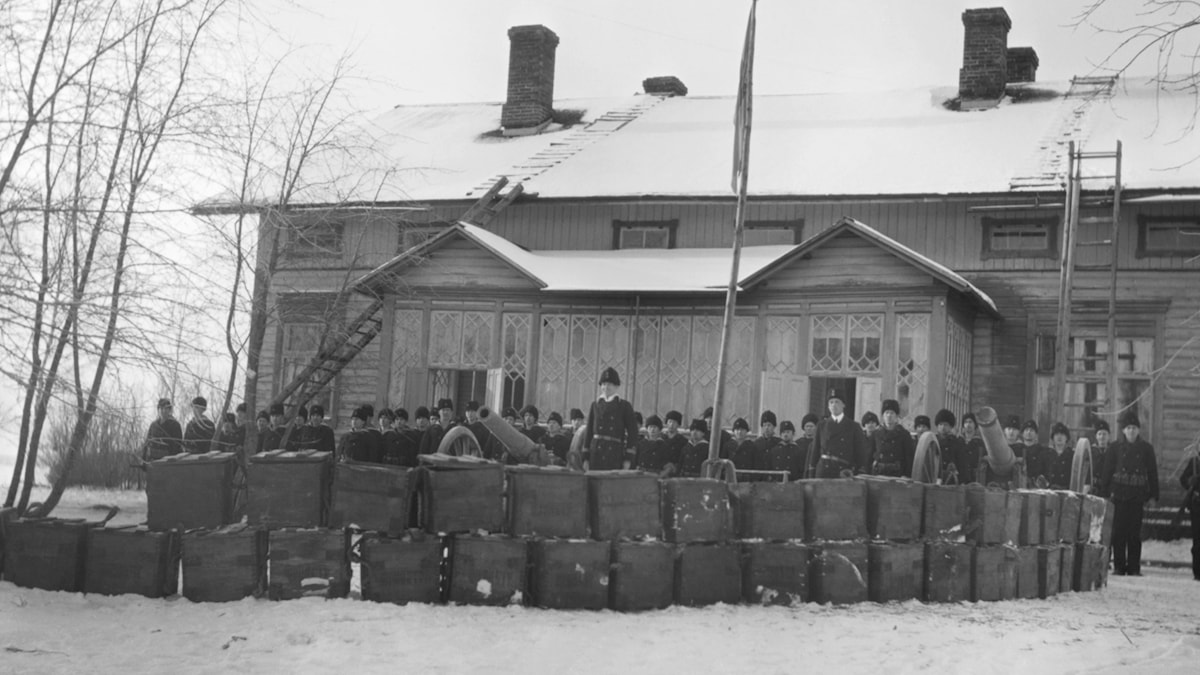 Svensk militär i Haraldsby på Åland 1918.