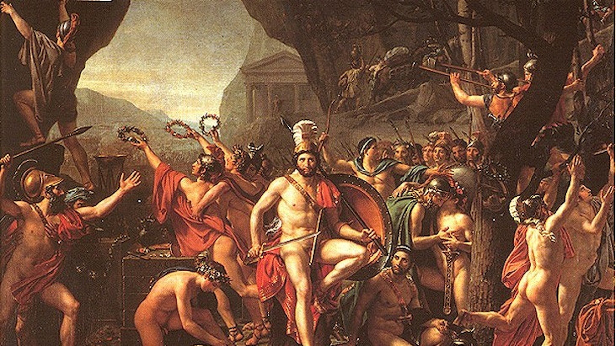 Slaget vid Thermopyle enligt Jacques-Louis David 1814.