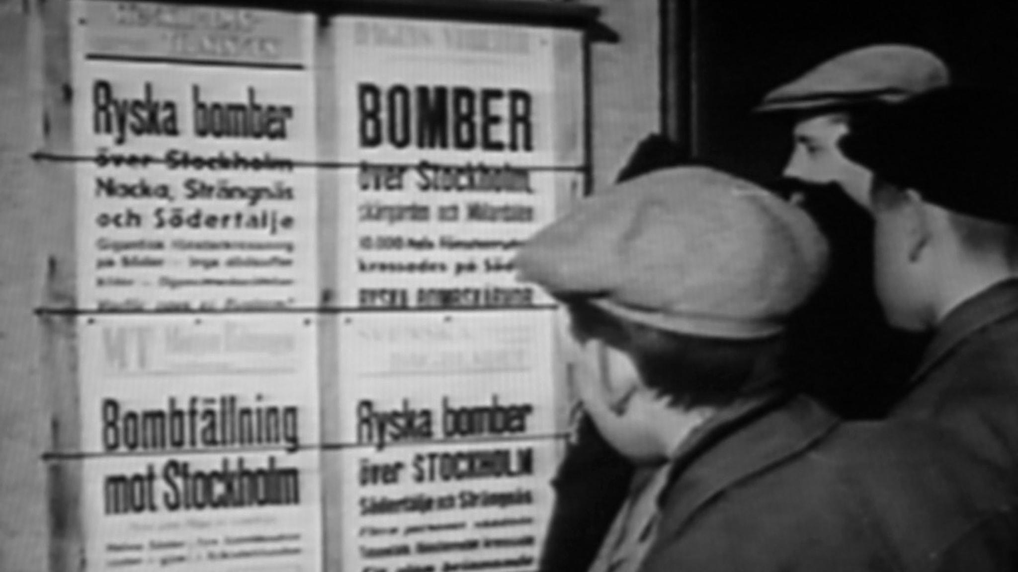 Ryska bomber över Stockholm blev stornyhet 1944.