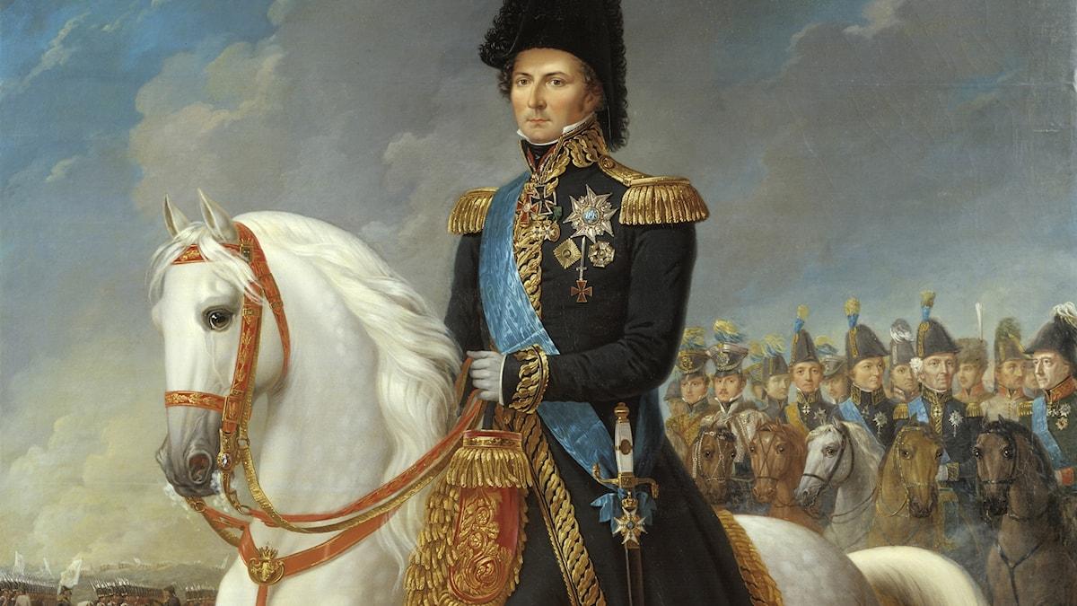 Karl XIV Johan i beskuren målning av Fredric Westin.