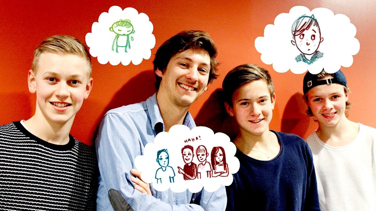1000 Modiga frågor. Killpanelen. Foto och illustrationer: Sveriges Radio