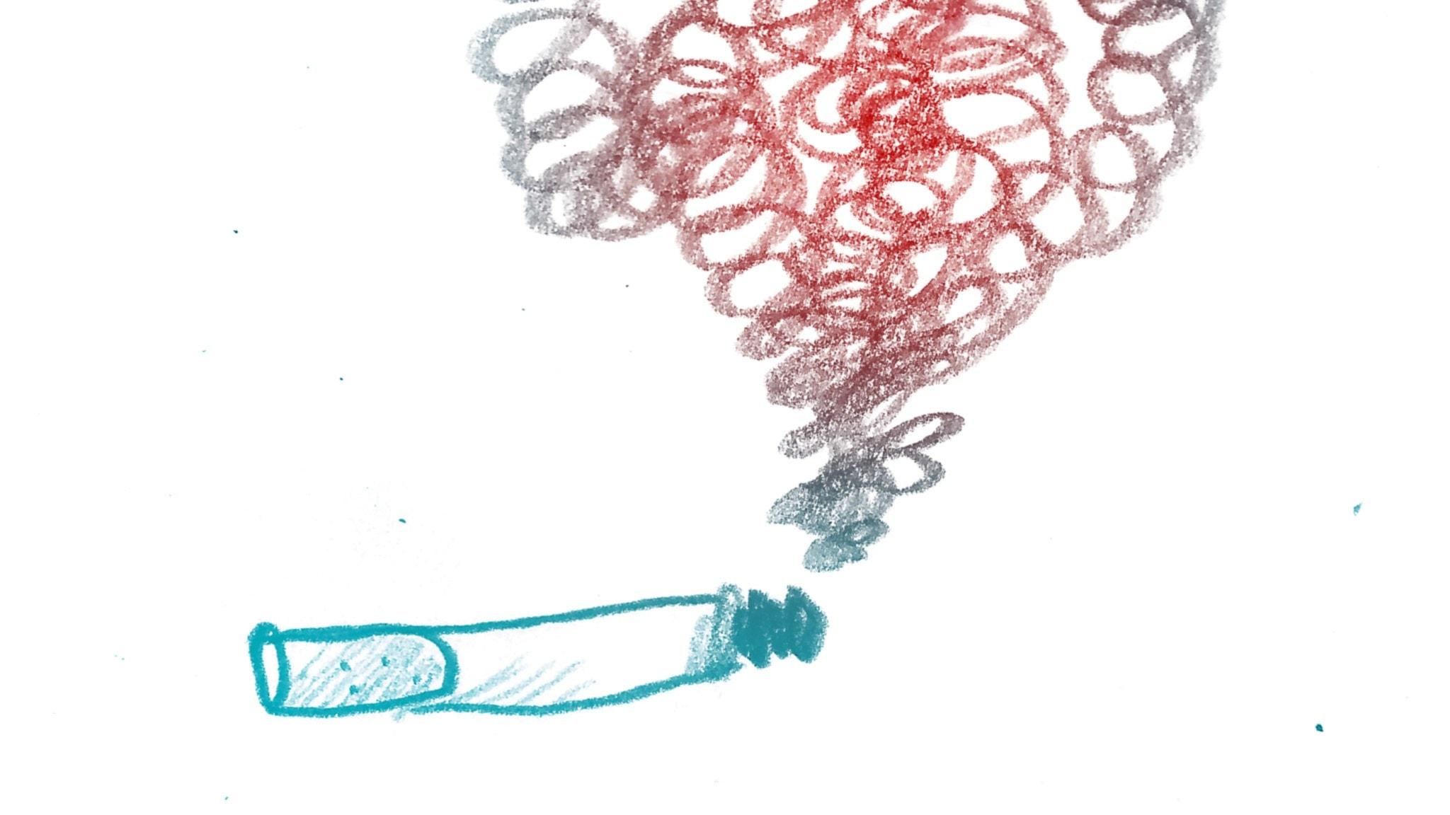 Cigarett. 1000 modiga frågor, illustration: Matilda Ruta