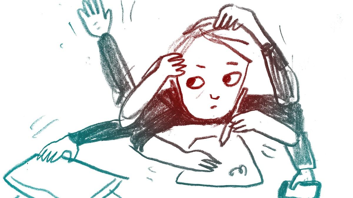 Stressad. 1000 modiga frågor, illustration: Matilda Ruta