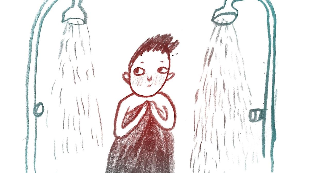 Omklädningsrum. 1000 modiga frågor, illustration: Matilda Ruta