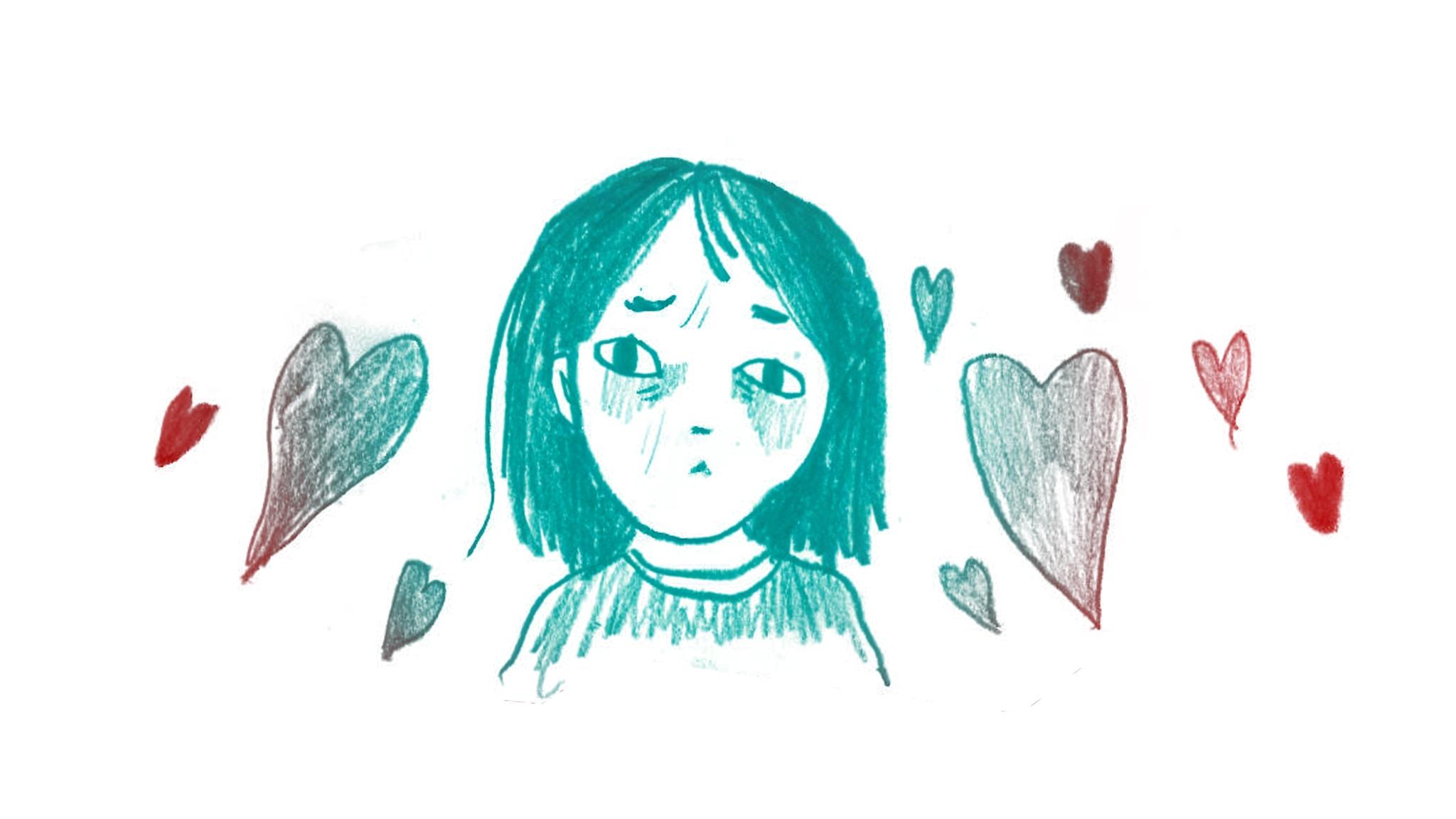 Olyckligt kär, 1000 modiga frågor, illustration: Matilda Ruta