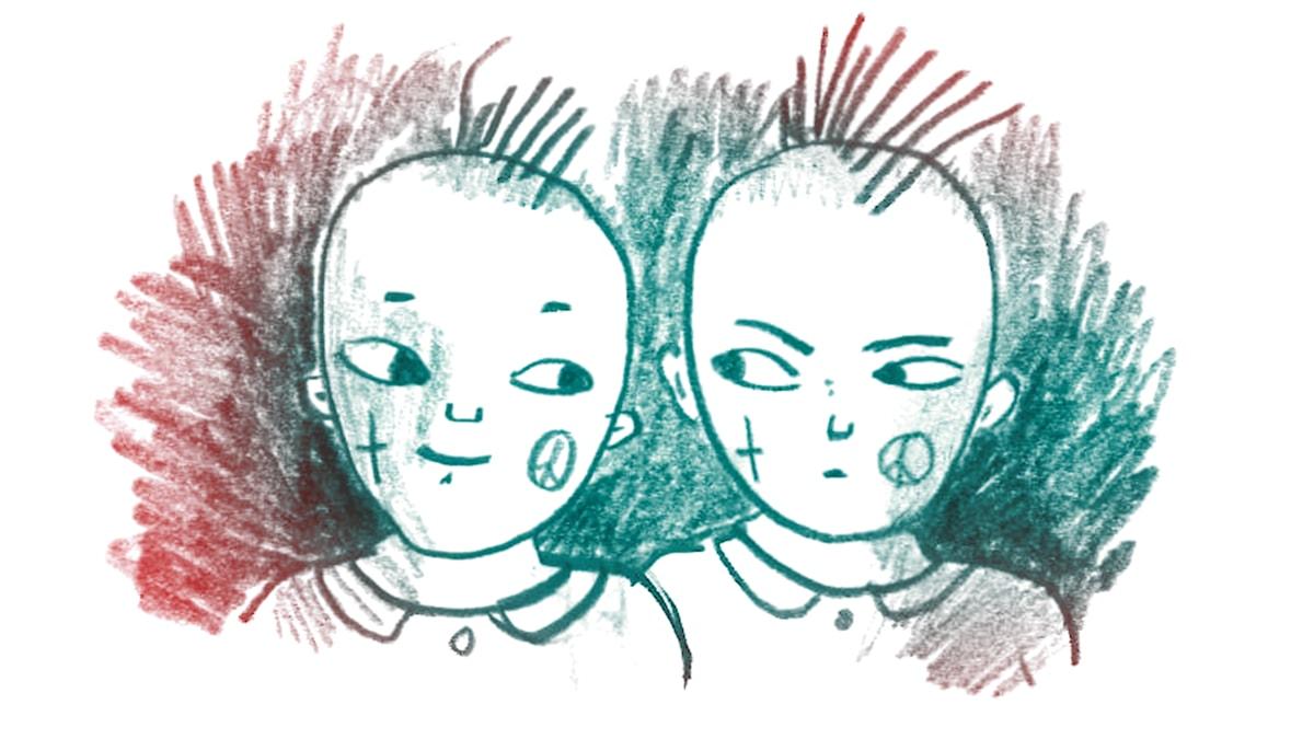 Kompis härmas. 1000 modiga frågor, illustration Matilda Ruta