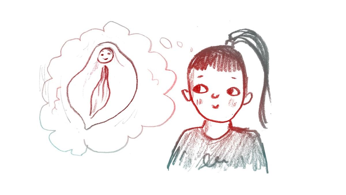 tjej tänker snippa 1000 modiga frågor illustration matilda ruta