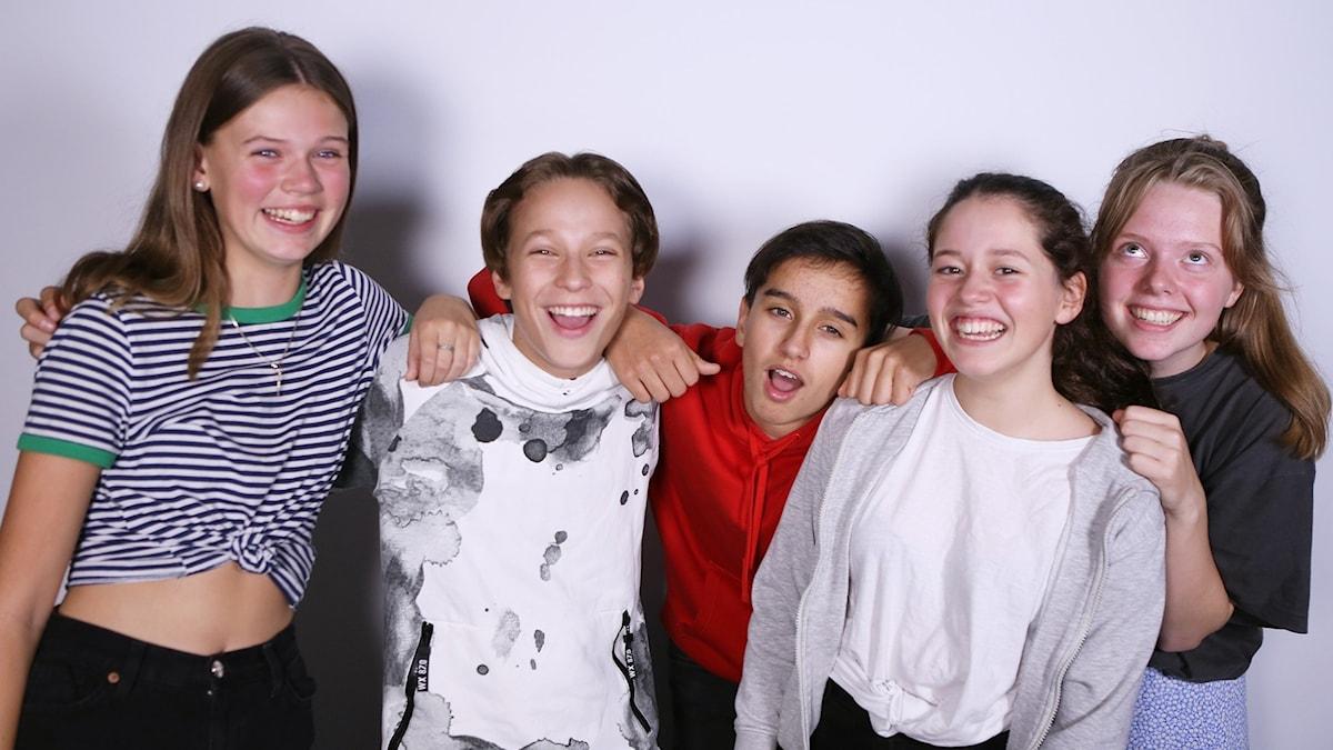 Maya, Teo, Alex, Filippa och Elsa.