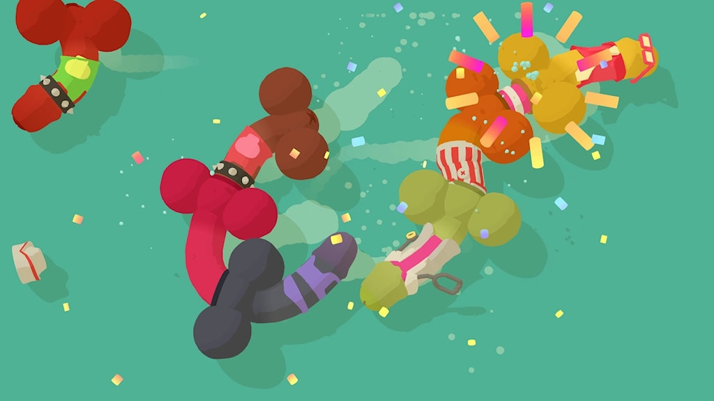 Tecknade och färgglada snoppar jagar varandra.