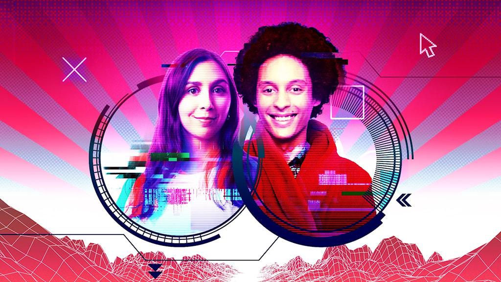 Omslag för nya P3 Spel-podden med Effie och Victor. Starka röda och lila färger och spelgrafik i bakgrunden.