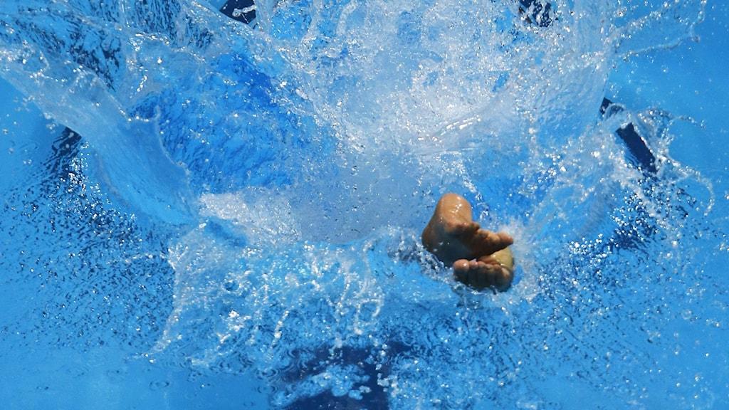 En person dyker ner i en pool.