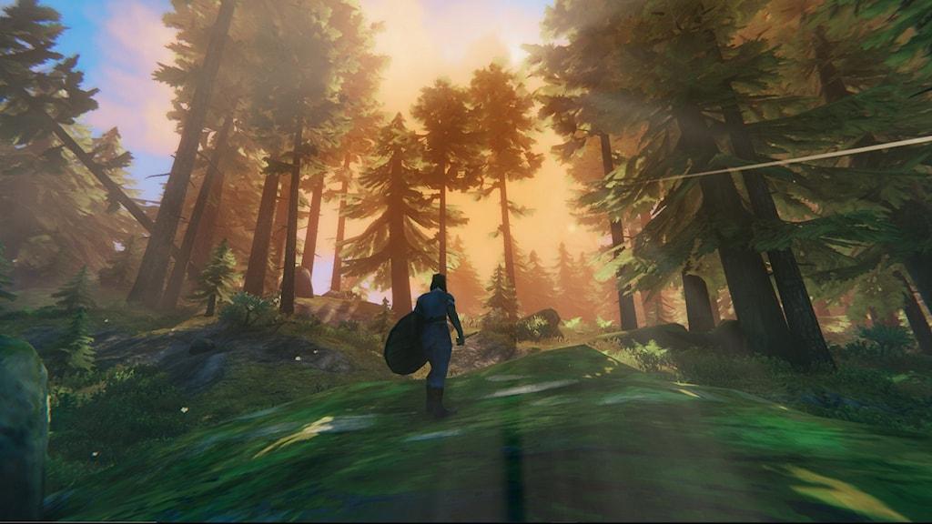Vikingaspelet Valheim. En viking vandrar i en skog där solen lyser starkt.
