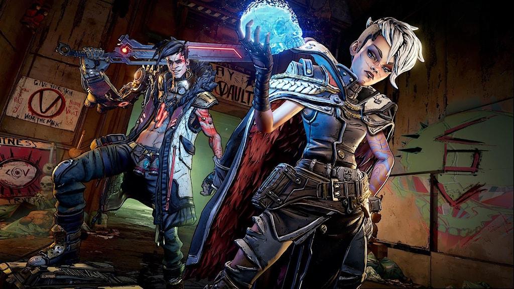 En bild från spelet Borderlands 3. Två karaktärer poserar med vapen.