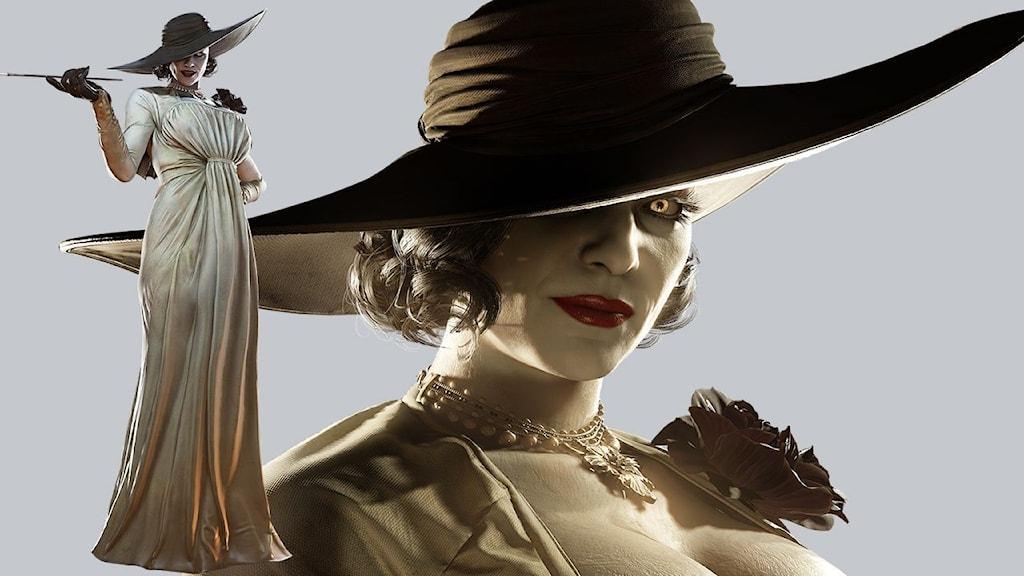 """Lady Dimitrescu i skräckspelet """"Resident Evil Village"""". Lång kvinna i klänning och slokhatt."""