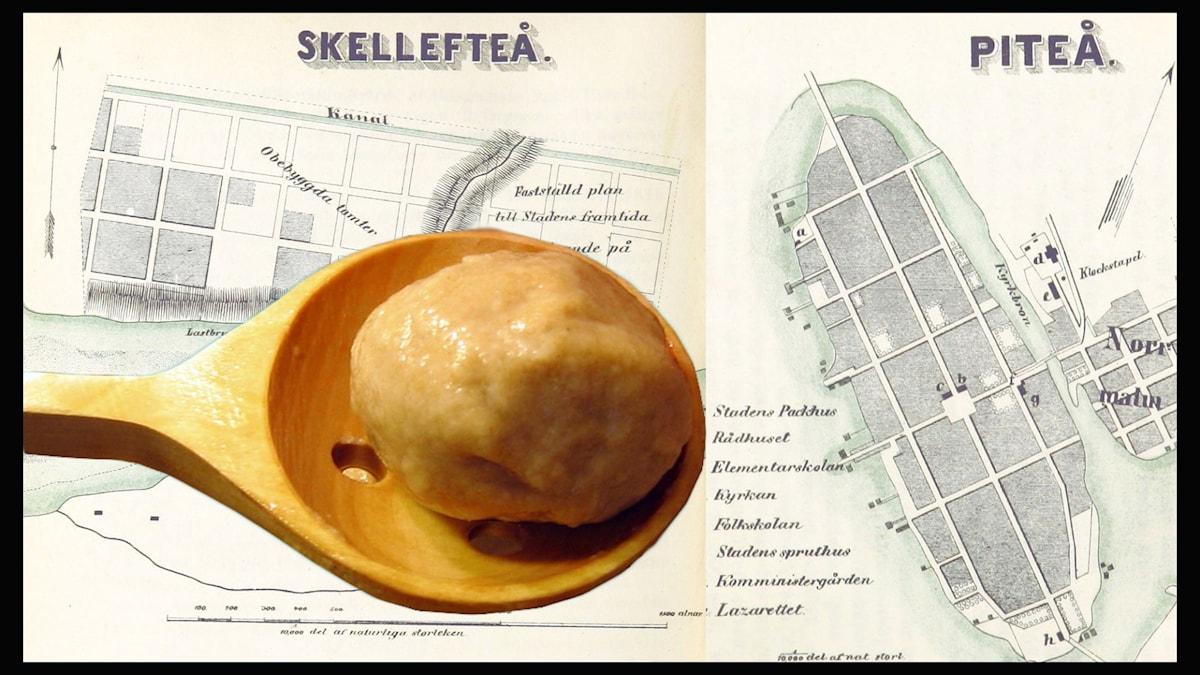 Bilden föreställer en slev med pitepalt och kartor över Skellefteå och Piteå.