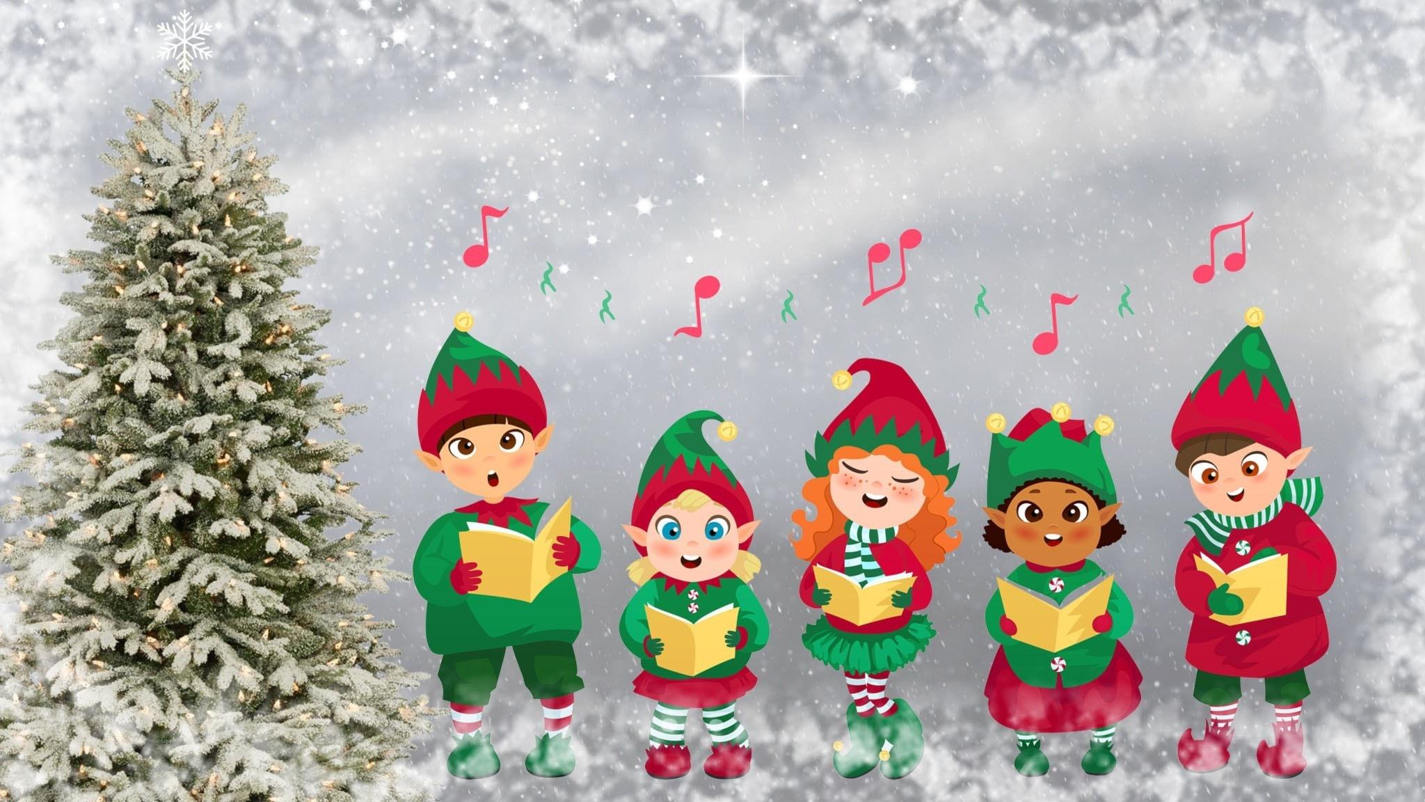 Tecknad bild på fem barn som sjunger julsånger.
