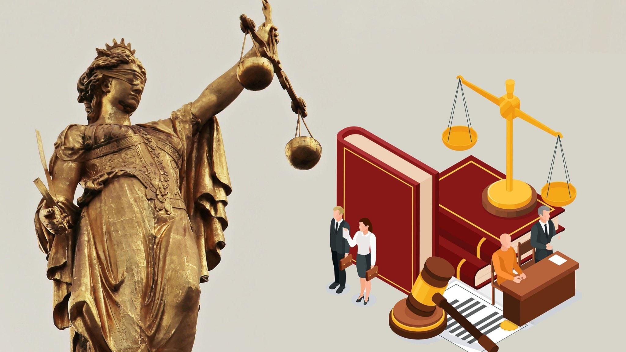 Staty på Fru Justitia och illustration på lagböcker och jurister.