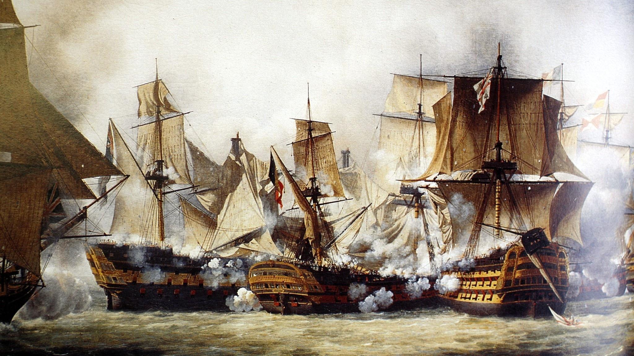 En målning av stridande fartyg.