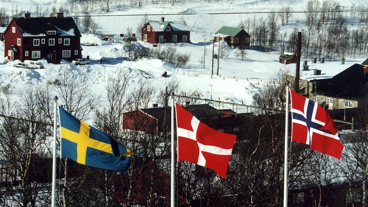 Tre flaggor: Sverige, Danmark och Norge.
