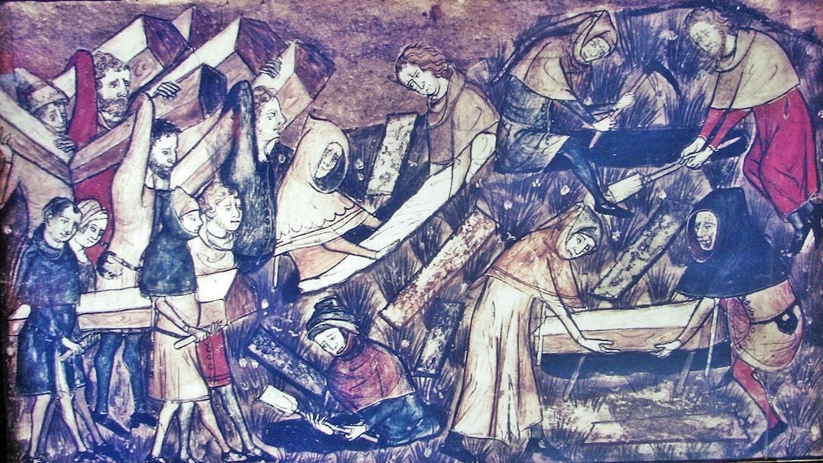 Medborgare i Toumai begraver sina döda under digerdöden.